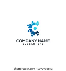 logo C people cooperate blue