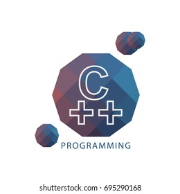 Logo C++ Programming Language Icon. Vector illustration on Topic of Popular High-level Coding.