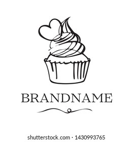 logo for a cafe or pastry shop hand-drawn. Cute cartoon vector illustration