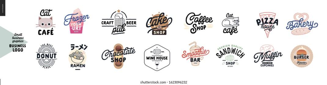 Logo - cafe and restaurants. Cat cafe, frozen yoghurt bar, donut, ramen, craft beer pub, cake, chocolate, wine house, coffee shop, smoothie bar, sandwich, pizza, bakery, muffins, cupcakes, burger