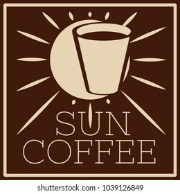 logo of cafe with sun and glass