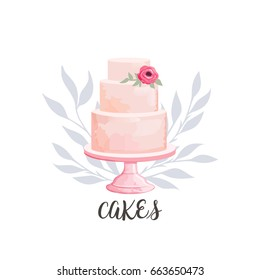 Logo for cake shop and bakery with floral watercolor style elements. Vector illustration.