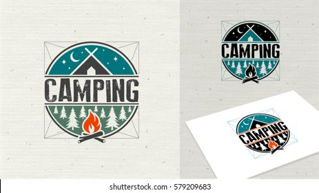 Logo, camping logo element for emblem. Outdoor activity symbol. Tent, fire, wood,  illustration logo template easy editable for Your design.