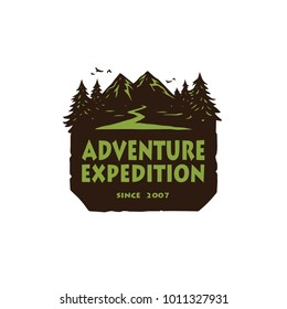 Logo for Camping Mountain Adventure, Emblems, and Badges. Camp in Forest Vector Illustration Design Template