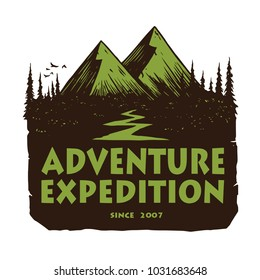 Logo for Camping Mountain Adventure, Emblems, and Badges. Camp in Forest Vector Illustration Design Elements Template