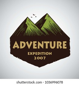 Logo for Camping Mountain Adventure, Emblems, and Badges. Camp in Jungle Vector Illustration Design Template