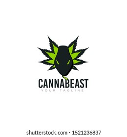 logo canabeast, snakes emerge from behind cannabis leaves vector