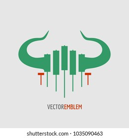 Logo candlestick trading chart analyzing in forex stock market. Exchange broker emblem. Bull horns and candles