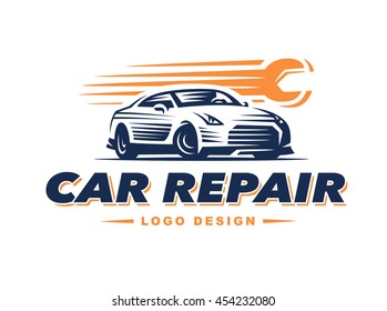 Logo car repair on light background