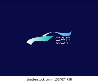 Logo of Car Wash in Flat Style. Designed with Premium Blue Color. Suitable for Car Wash Company, Car Showroom and more. Vector Illustration.