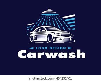 Logo car wash on dark background.