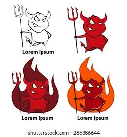 Logo cartoon devil, simple vector illustration