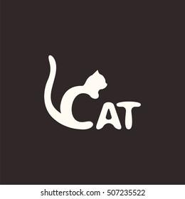 logo cat. Letter C made like a cat. Vector design logo. Vector illustration