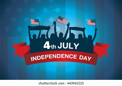 Logo celebrate 4 July independence day of American on national flag background. People waving flags and gambol in silhouette style.