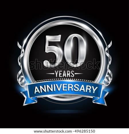 Logo Celebrating 50 Years Anniversary Silver Stock Vector ...