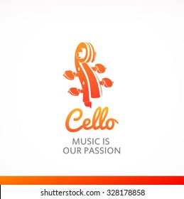 Logo of Cello with peghead in orange color. Style colorful vector illustration.