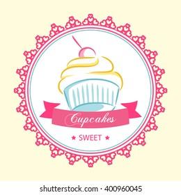 Logo centered sweet cupcake