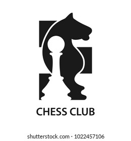 Logo of the chess club. Concept illustration in flat style design. Logo template. Vector illustration