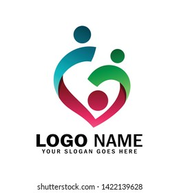Logo of child adoption and charitable foundations, symbol of happy family, midwives, community, and social relations