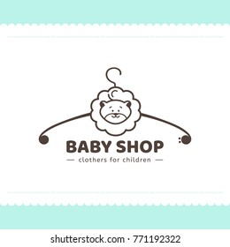 Logo for children's clothing shop. Vector template of the brand for the designer. Element for Studio sewing and tailoring. Vector illustration of a hanger and a lion cub in cartoon style