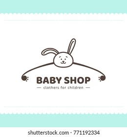Logo for children's clothing shop. Vector template of the brand for the designer. Element for Studio sewing and tailoring. Vector illustration of a hanger and a bunny in a cartoon style