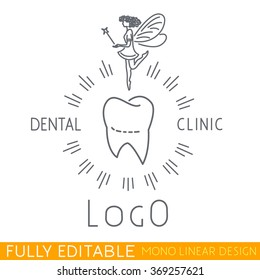 logo Children's dental clinic include tooth icon and Tooth Fairy picture. Modern thin line logo template. Fully editable curves. Mono linear pictogram of outline symbol. Stroke vector icon concept.