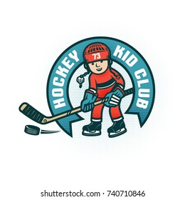 Logo of the children's hockey club with  boy in the form and helmet. Halftone dots are grouped and easily removed if necessary.
