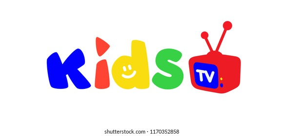 Logo for children's television. Vector. Bright logo with colored letters and a TV. Logo isolated on white background. Fashionable children's shop, studio. An inscription for the video channel, blog.