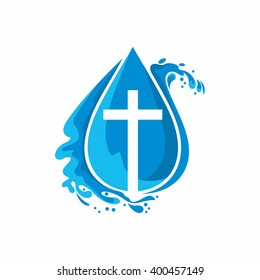 Logo church. Christian symbols. A drop. Jesus - the source of living water.