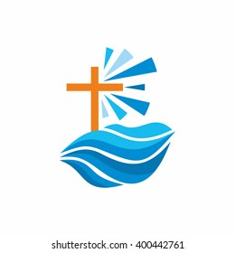 Logo church. Christian symbols. Waves, cross, streams of water alive, lighthouse.