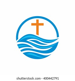 Logo church. Christian symbols. Waves, cross, streams of water alive.