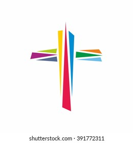 Logo for the church. Colorful cross of Jesus Christ, God's symbol of diversity