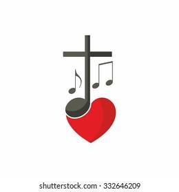 Logo for church. Cross, music and heart.