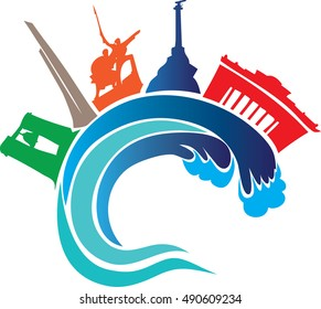 Logo of the city of Sevastopol, wave and attractions. Image isolated on white background