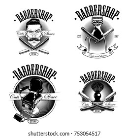 Logo in a classic monochrome black-and-white style. Set barbershop emblems, labels, badges. Isolated on white background