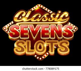 Logo classic sevens slots for game. Vector illustration