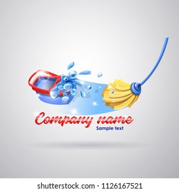 Logo cleaning service: Mop and bucket cleaning the floor with splash. Vector