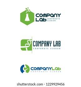 Logo for clinical laboratory / microscope / test tube / DNA, editable vector design.