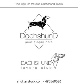 Logo for the club dog lovers Dachshund breed presented in two versions. The logo is made in the style graphically and consists of triangles.
