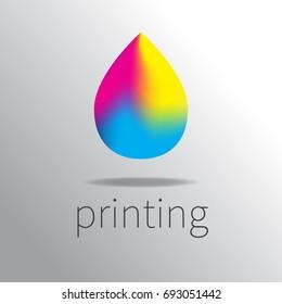 Logo cmyk color model. Icon gradient drop. Logotype printing. Vector illustration.