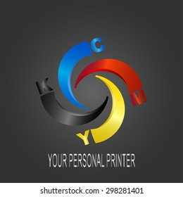 Logo CMYK Print concept design. Your personal printer.