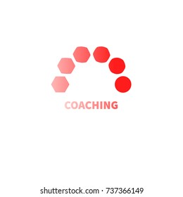 Logo coaching. Logo transforming, transformation. Symbol of coach. Development in business. - Stock vector
