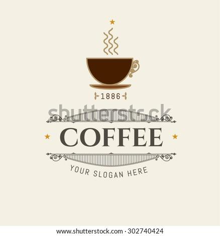 Logo Coffee Company Vintage Frame Stylized Stock Vector (Royalty ...