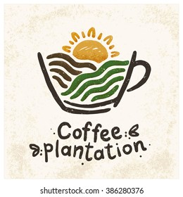 Logo coffee plantations. The image of a coffee cup, coffee landscape of fields and the sun.