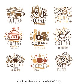 Logo coffee set of colorful hand drawn vector Illustrations