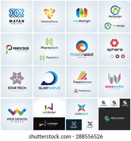 Logo collection, abstract geometric business icon set. Full vector