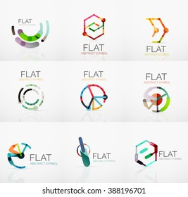 Logo collection - abstract minimalistic linear flat design. Business hi-tech geometric symbols, multicolored connected segments of lines. Vector illustration - connection concepts