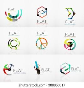 Logo collection - abstract minimalistic linear flat design. Business hi-tech geometric symbols, multicolored segments lines