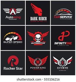 Logo collection of automotive car skull engine wing rocket star rider tattoo brand identity.