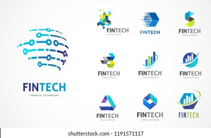 Logo collection - fintech, blockchain, technology, biotechnology, tech icons and symbols